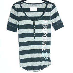 AEROPOSTALE Stripe Short Sleeve Henley Tee
